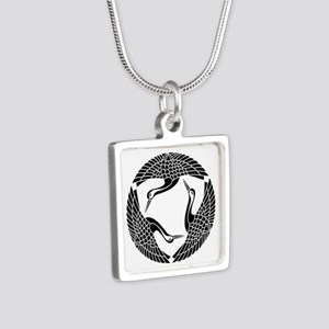 Circle of three cranes Silver Square Necklace